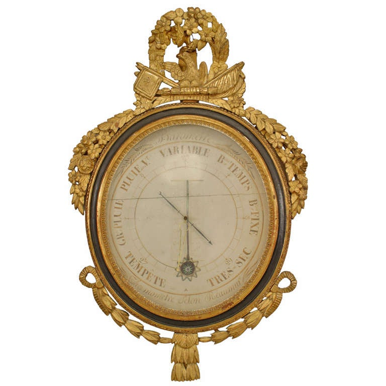 18th c. French Louis XVI Gilt Carved Barometer