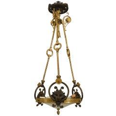 English Regency Glass and Bronze Lion Pendant Chandelier