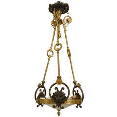 English Regency Bronze Chandelier with Lion and Greek Key Accents