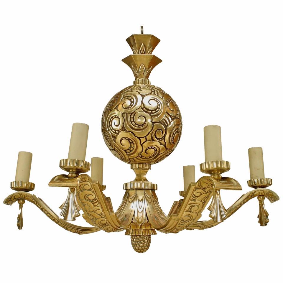 French Art Deco Spherical Bronze Chandelier