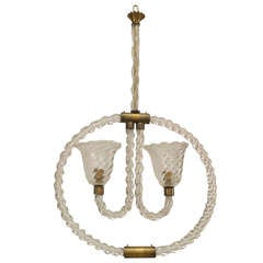 1940's Barovier and Toso Murano Glass Hoop-Form Chandelier