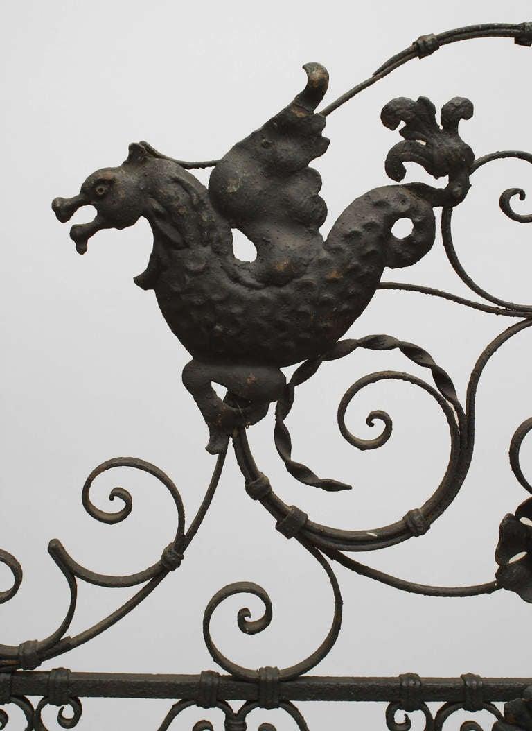 Renaissance Revival Pair of 19th Century Renaissance Style Iron Gates For Sale