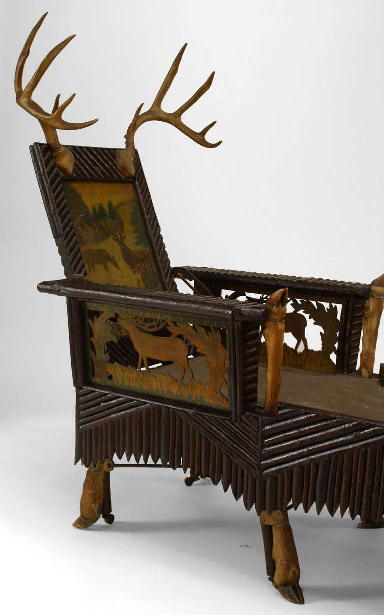 Unique 19th c carved and painted horn mounted adirondack for Chaise adirondak