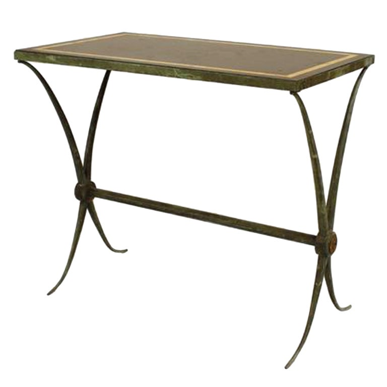 Art Deco Marble And Green Patinated Bronze End Table Attributed To Raymond  Subes 1