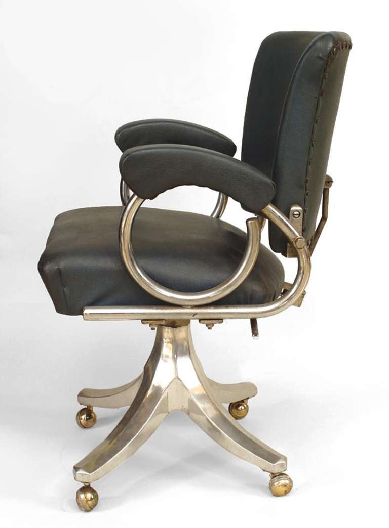 american deco chrome and blue leather swivel chair at 1stdibs
