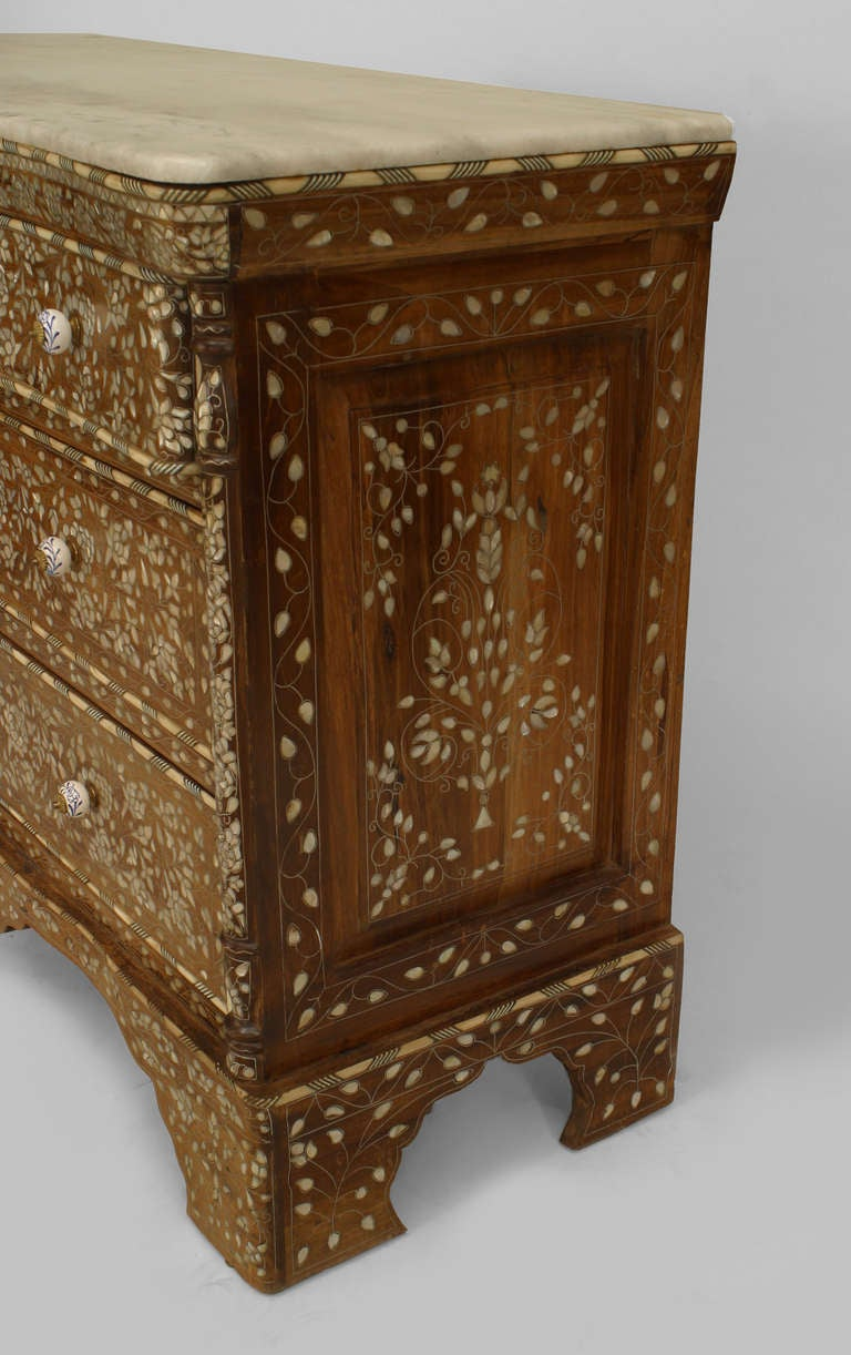 Middle Eastern Marble Top Inlaid Chest Of Drawers At 1stdibs