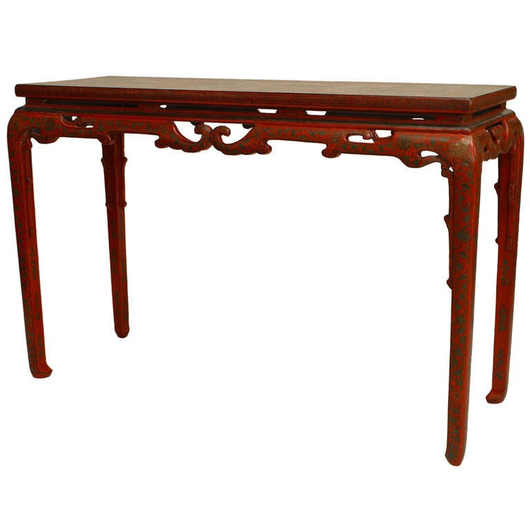 Chinese Red Lacquer Console Table For Sale at 1stdibs