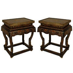 Pair Of 19th c. Chinese Lacquered Palace Tables