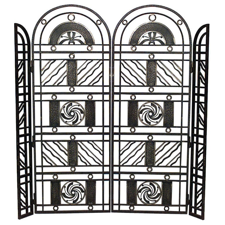Art Deco Wrought Iron Gate Attributed to Edgar Brandt
