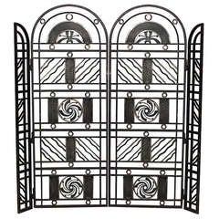 Art Deco Wrought Iron Gate, Attrib. to Edgar Brandt