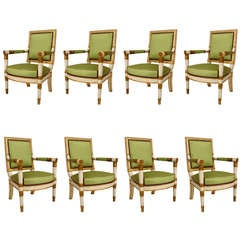 Set of Eight 18th c. Painted and Gilt French Directoire Armchairs