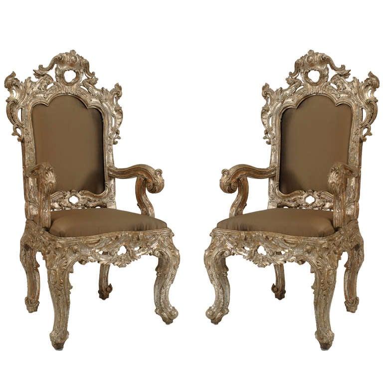 Pair of 18th c. Italian Rococo Silver Gilt Throne Arm Chairs