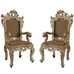Pair of 18th c. Italian Rococo Silver Gilt Throne Arm Chairs