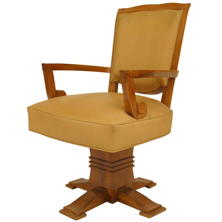 Art Deco Swivel Chair By Jules Leleu