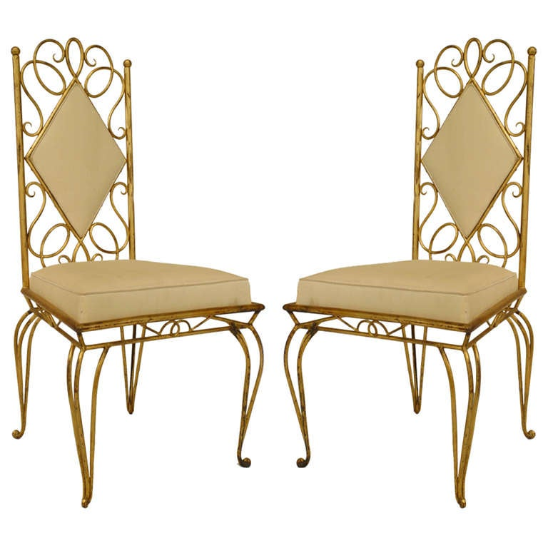 Pair Of French 1940's Gilt Metal Upholstered Side Chairs 1