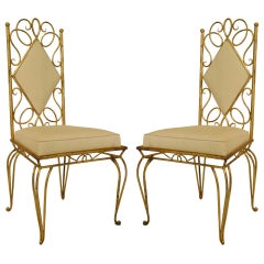 Pair Of French 1940's Gilt Metal Upholstered Side Chairs