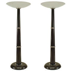 Ebonized And Chrome Lamps With Disc-Shaped Shades