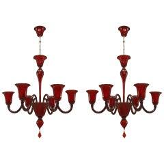 Modern Ruby Red Murano Chandeliers