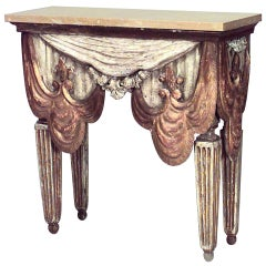 19th c. Venetian Gilt Wood And Siena Marble Console Table
