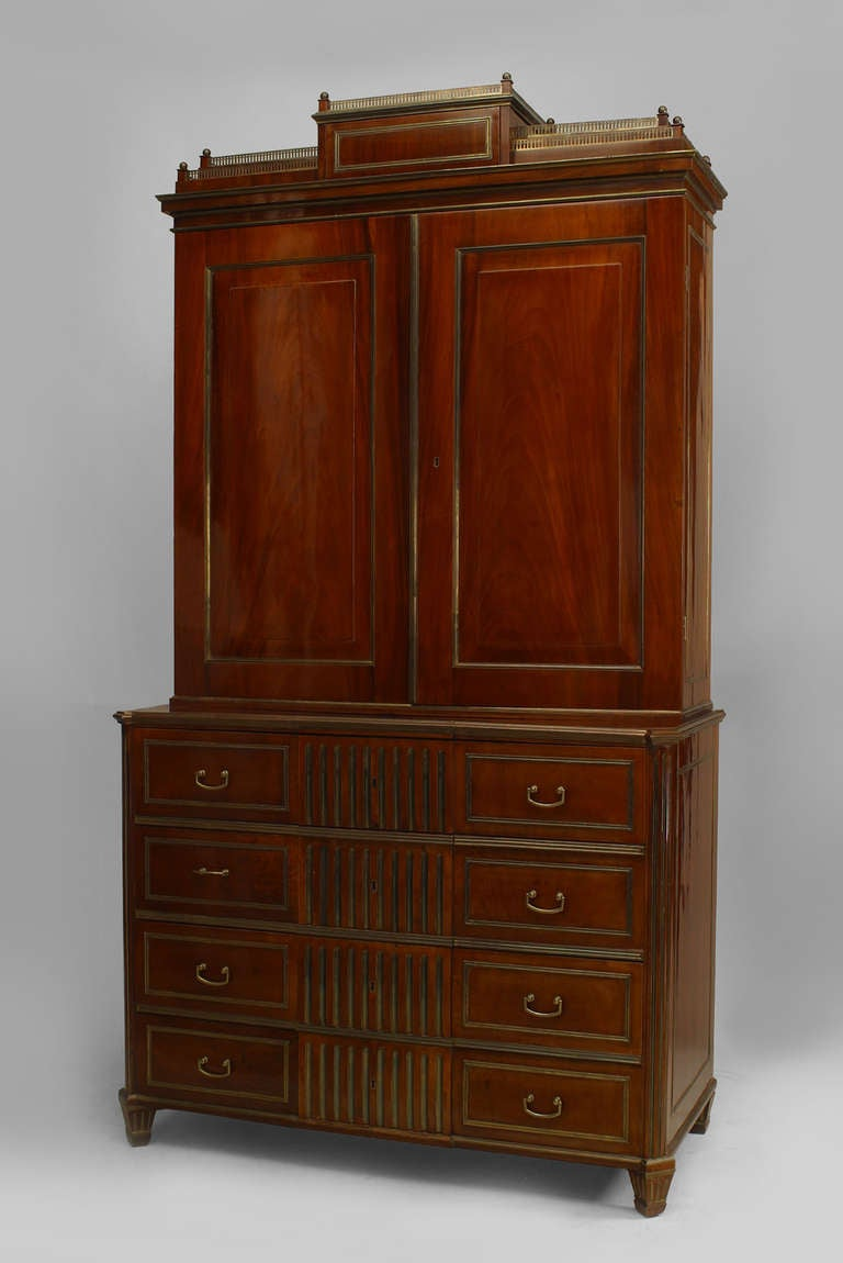 18th c. Russian Brass-Trimmed Mahogany Secretary Bookcase 2