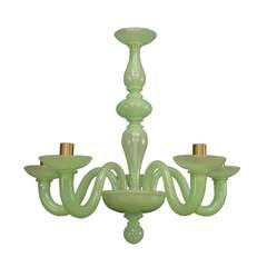 1950s Celadon Murano Glass Chandelier Attributed to Venini