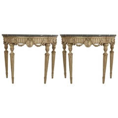 Pair of 18th Century Italian Neoclassical Silver Gilt Demilune Consoles