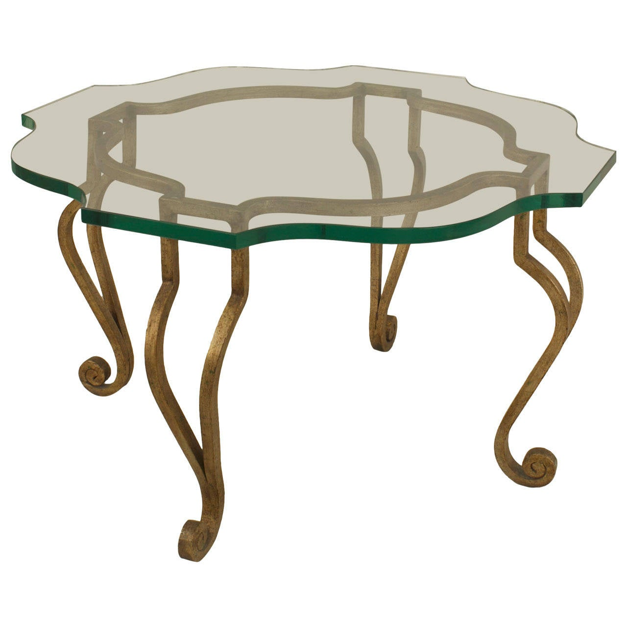 Mid 20th Century French Gilt Iron And Glass Coffee Table Attributed To Jansen For Sale At 1stdibs
