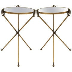 Pair of Mid-20th Century French Low Mirrored Brass End Tables