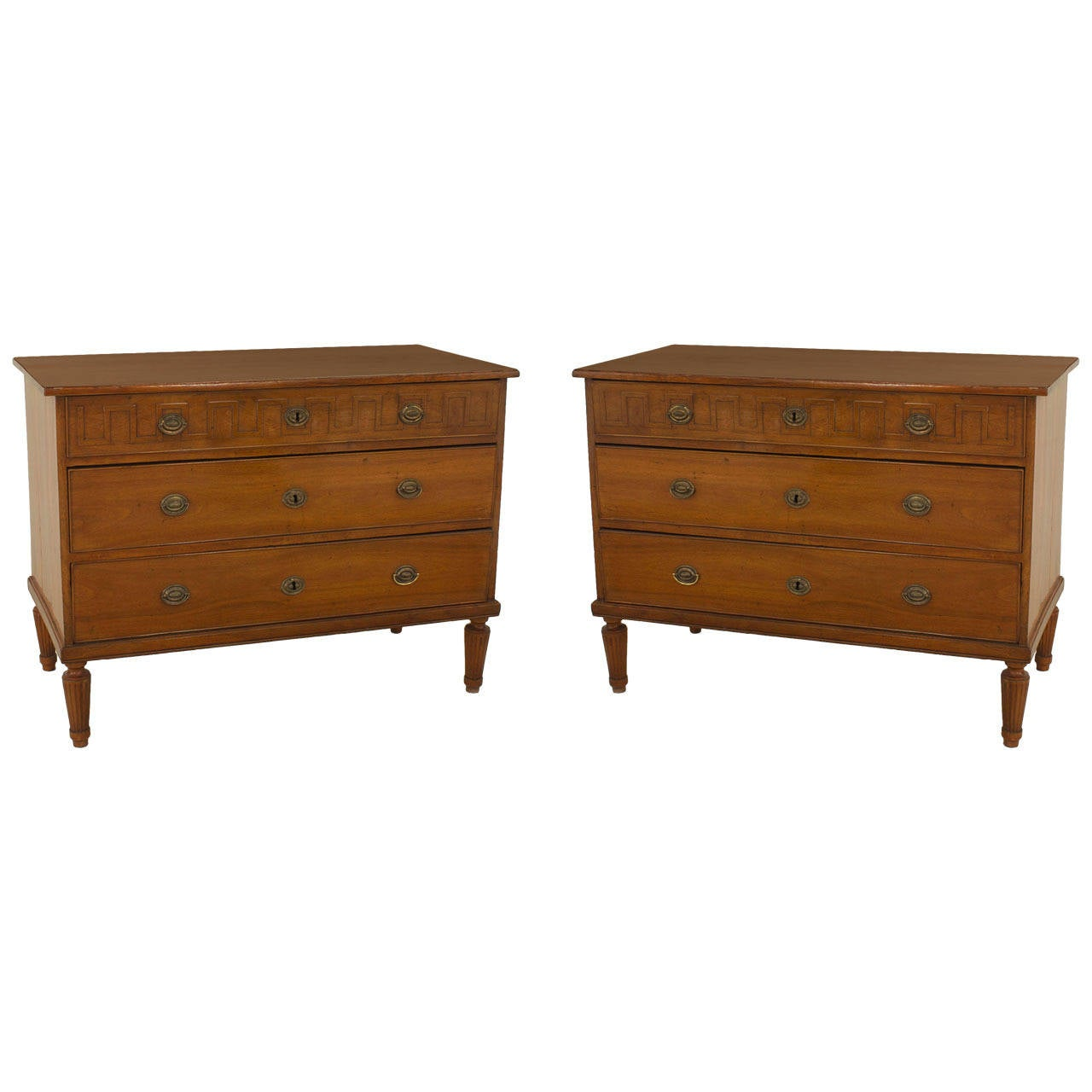 Pair of 19th Century Italian Neoclassical Fruitwood Three-Drawer Chests