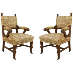 Pair of English Arts & Crafts Movmement Upholstered Mahogany Open Armchairs