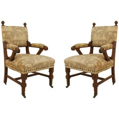 Pair of English Arts & Crafts Movement Open Armchairs