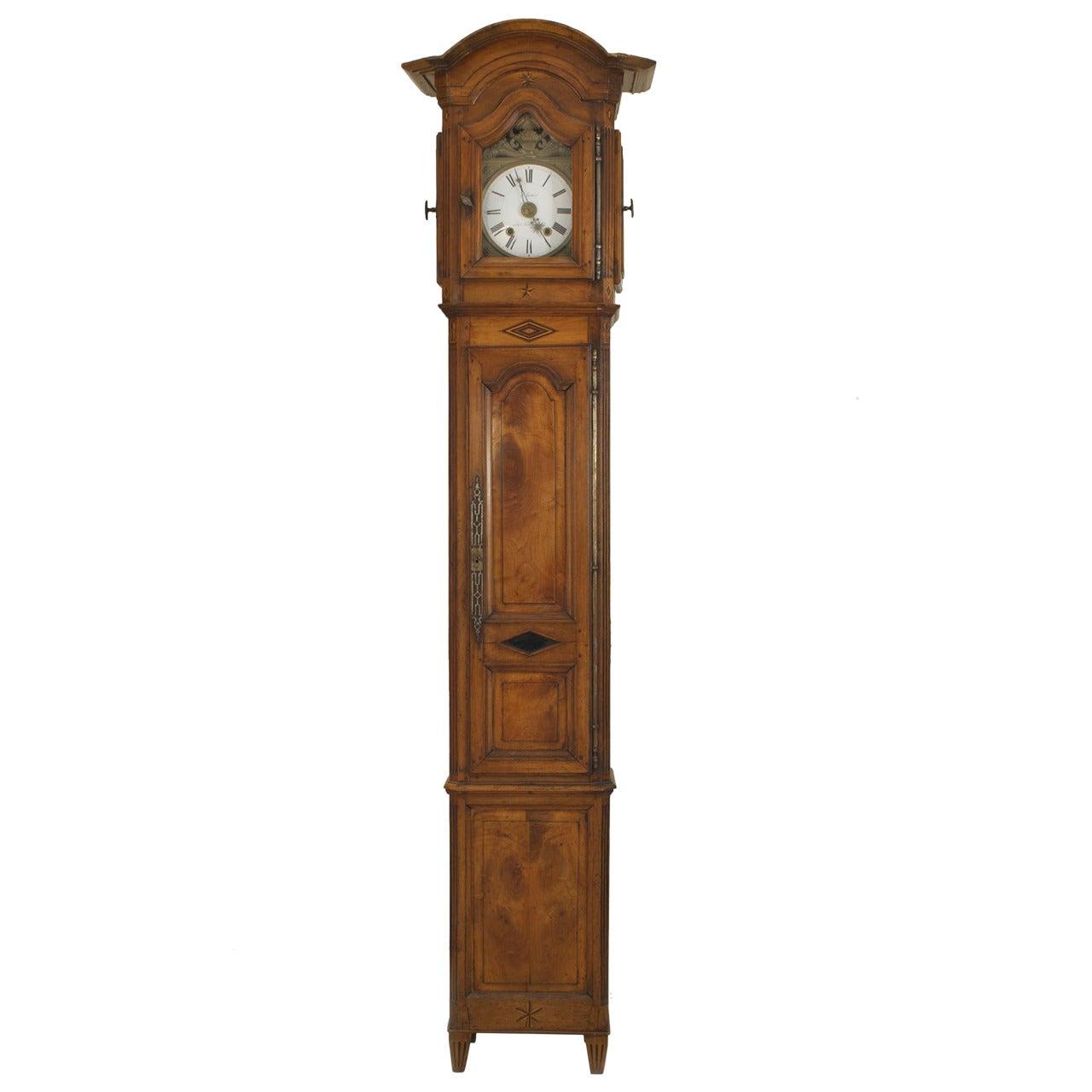 French Provincial Walnut Grandfather Clock