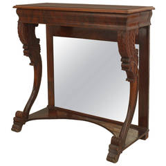 Early 19th Century English Regency Mirrored Mahogany Console Table