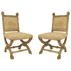 Pair of 19th Century Neoclassical Painted Side Chairs