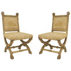 Pair of English Victorian Painted Side Chairs
