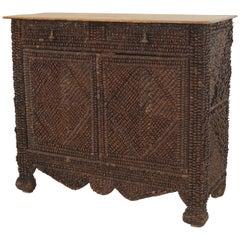Late 19th Century Continental Rustic Pine Cone Veneered Two-Door Cabinet