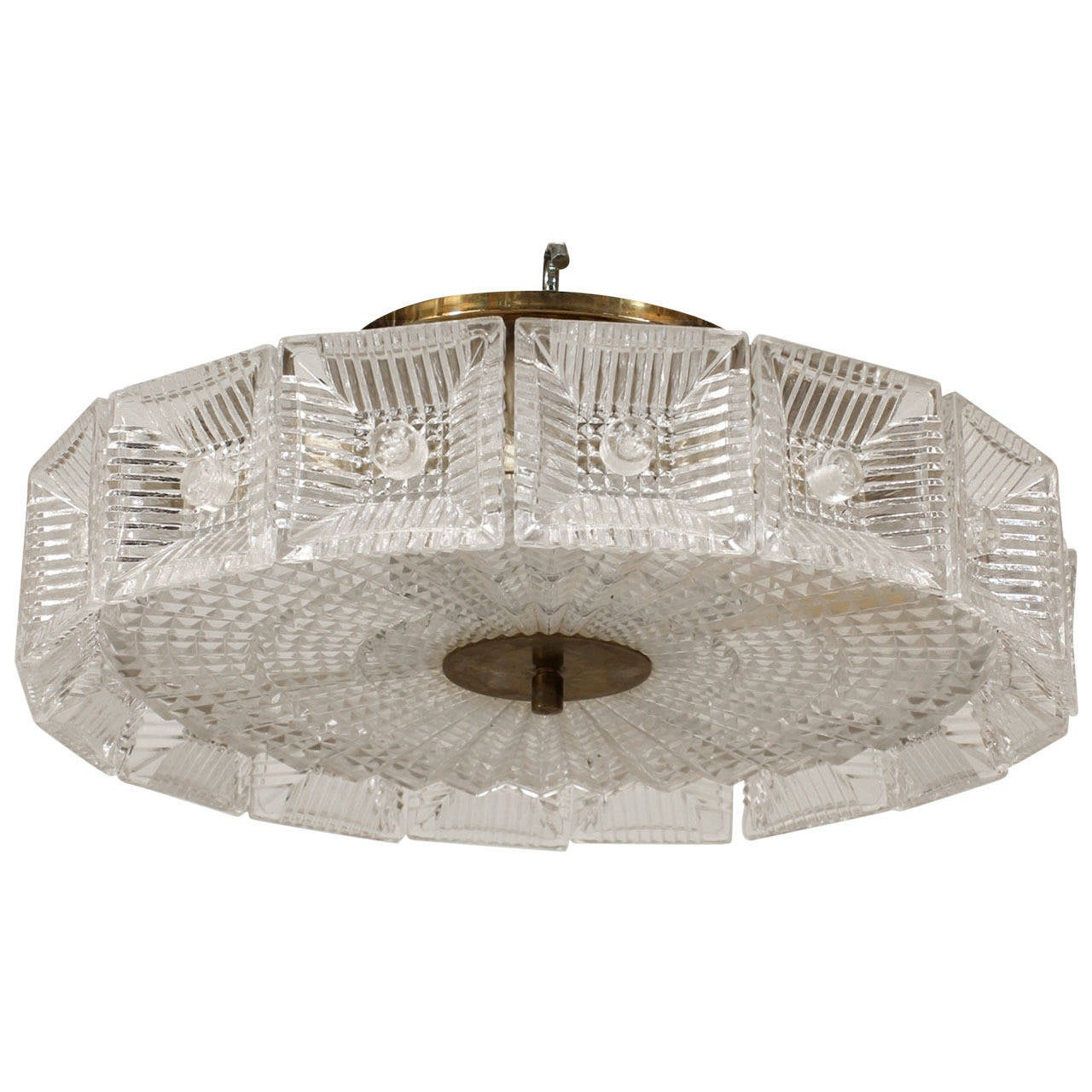 Mid-20th Century Swedish Orrefors Textured Glass Chandelier