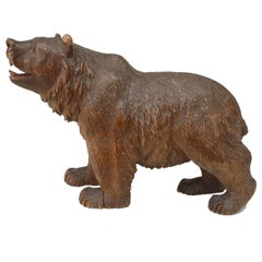 Small Turn of the Century Continental Black Forest Style Carved Bear