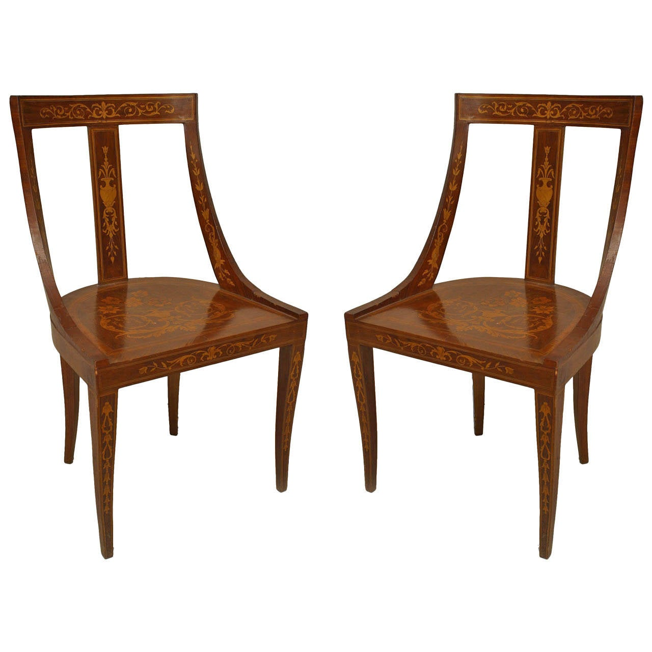 Pair of english edwardian inlaid mahogany side chairs for for Side chairs for sale