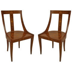Pair of English Edwardian Inlaid Mahogany Side Chairs