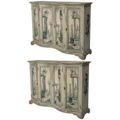 Pair of Italian Neoclassical Grisaille Painted Commodes