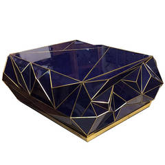 Contemporary Brass-Trimmed Cobalt Glass Geometric Coffee Table