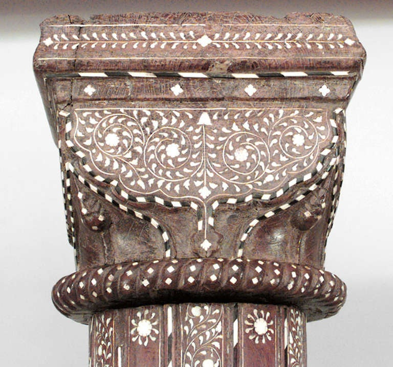 Pair of 19th c moorish inlaid teak columns for sale at 1stdibs