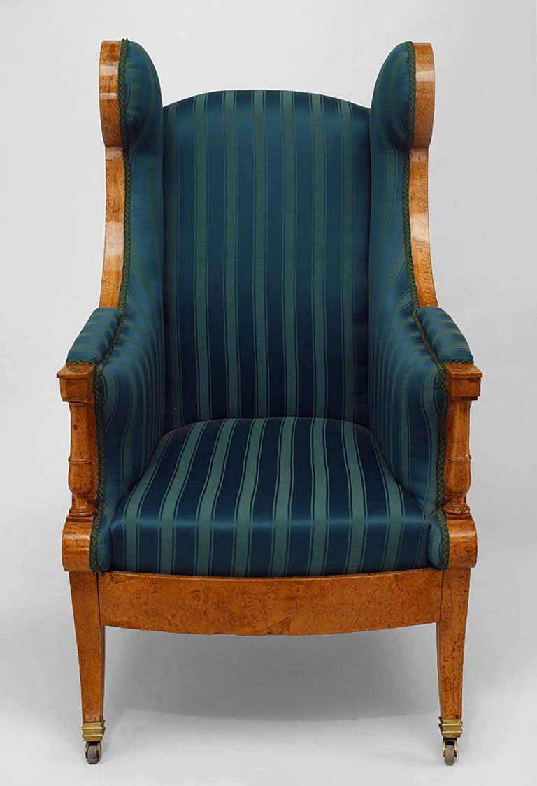 19th C Russian Winged Armchair Upholstered In Striped