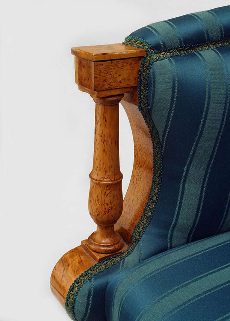 19th c. Russian Winged Armchair Upholstered In Striped Green Silk 5