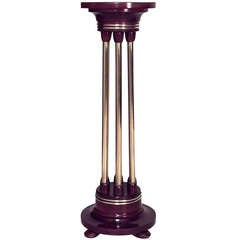 Secessionist Brass And Mahogany Pedestal