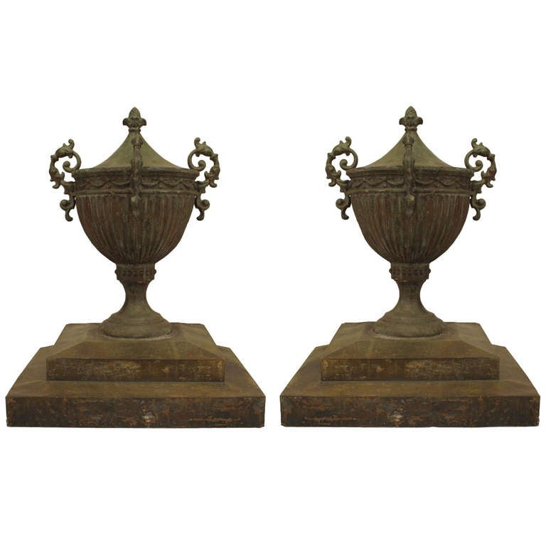 Pair Of 19th C. Adam Style Large Tole Garden Urns