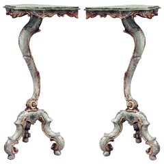 Pair Of Early 19th c. Polychromed and Parcel Gilt Venetian Pedestals