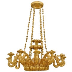 Early 19th C. Italian Neoclassic Carved Gilt Wood Chandelier