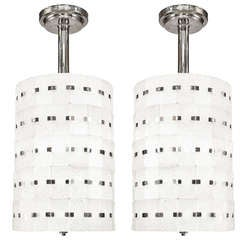 Pair of Sabino Art Deco Cylindrical Glass Chandeliers